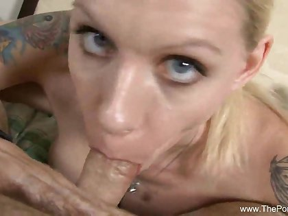 Trashy Blonde Gives Nerd A Blowjob Until Cum Comes Out
