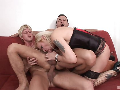 Amina is the only girl in the room during AC/DC MMF threesome fun