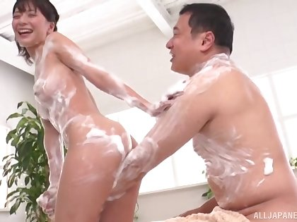 Fucking in the bathroom with soapy Japanese housewife Nonoura Non