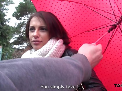 Glum ass babe Nikita gets a ride home and some good dicking on a rainy day