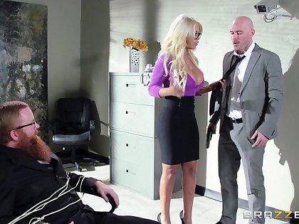 Boss with a huge member persuaded blonde secretary of sex - Bridgette