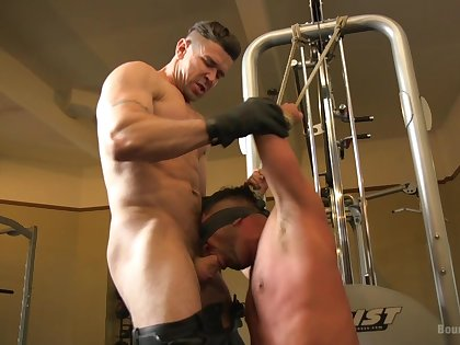 Naked gay lovers share their maledom play on cam