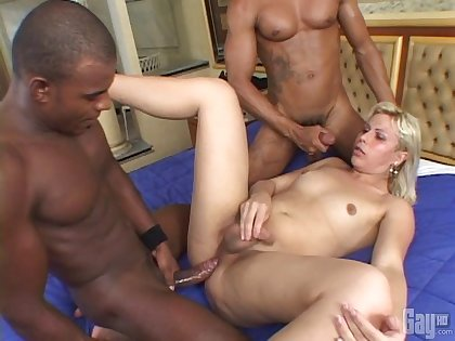 Hardcore interracial threesome with two black dudes and a shemale