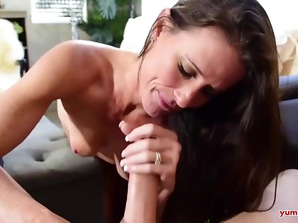 Small titted masseuse, Sofie Marie is gently sucking the brush custom dick, while his wife is at dissimulate