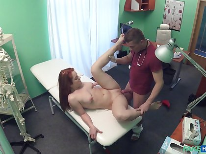 Doctor jocoseness redhead and fucks her pussy - hidden cam angles