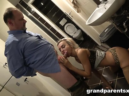 Stunning blonde gives head before firm harsh sex