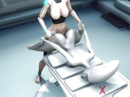 Alien lesbian sex in sci-fi lab. Unmasculine android plays with an alien