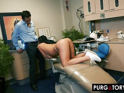 Smoking hot brunette with big tits is having hardcore sex with her drawing dentist, in his place