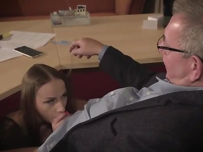 Amazing brunette with glasses is having a ffm threesome encouragement under way and enjoying it a lot